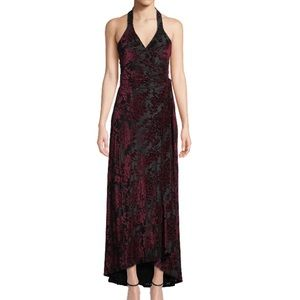 Dress the population velvet floral wrap dress